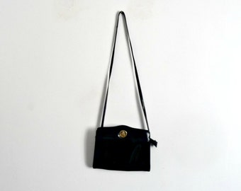 Black Varnish Leather Handbag POURCHET Vintage 1980s/1990s