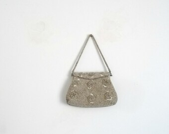 Antique Small Embroidered Beads Silver Purse  Vintage 50s