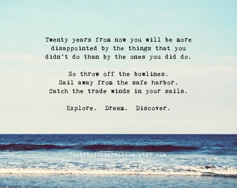 Life Quotes, inspirational, explore, dream, discover. Beach photography print