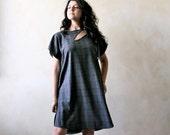 Women Dress, Wool dress, tunic dress, knee length dress, winter dress, grey dress, short sleeve dress, maternity dress, women clothing