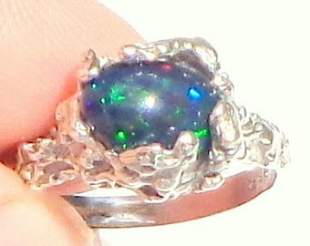Sz 7,Black Welo Opal,Multi Color Fire,Black Opal Ring,Ethiopian Opal Ring,Welo Opal Ring, Sterling Silver Ring, Free Form Style, Natural Gem