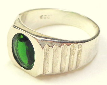 Sz 8.25, Men's Russian Chrome Diopside Ring, Sterling Silver Ring, Semi-Transparent Green Stone Ring, OOAK