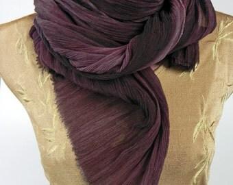 Dark Burgundy Silk Scarf, Chiffon Crinkle Scarf, Wrap, Soft Pleated Silk Scarf, Hand dyed Ruffled Scarf, Long Luxury Silk Scarf,Gift for Her