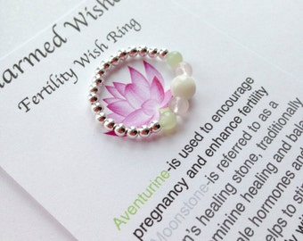 Moonstone fertility wishes ring, sterling silver beaded ring, fertility ring, fertility jewellery, IVF, Pregnancy wishes, Gemstone ring