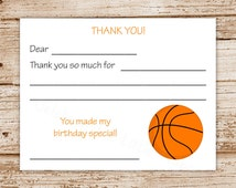 Basketball Thank You Cards Fill In The Blank Sports