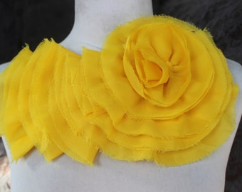 Nice ruffled  applique yoke yellow  color 1 pieces listing