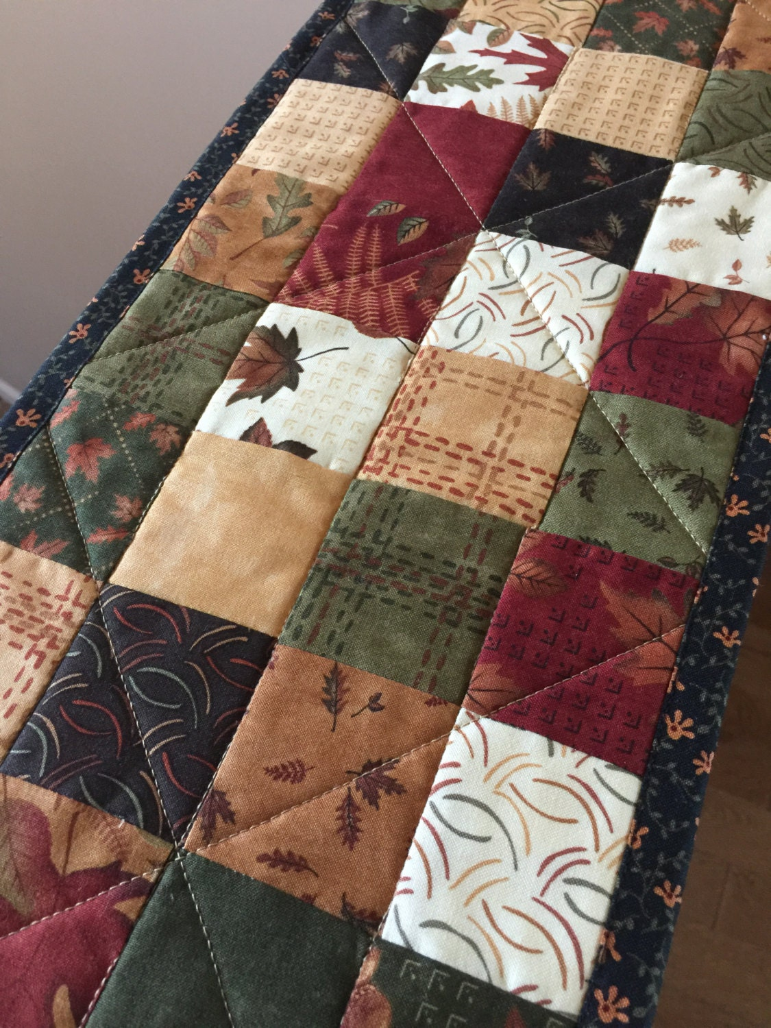 Quilted Fall Autumn Patchwork Table Runner Quiltsy Handmade