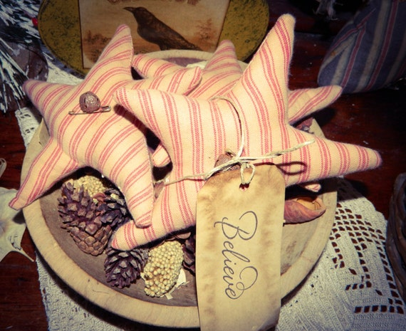 Primitive Christmas Star Ornies-Bowl Fillers-Set Of 3-FAAP