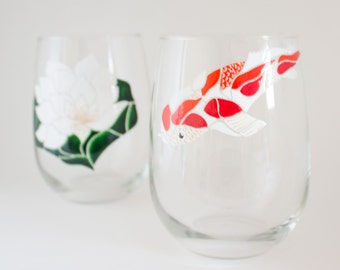 Koi Fish Set of 2 - Hand Painted Wine Glasses - Koi Art - Mosaic Art - Waterlily Painting - Japanese Decor - Dinnerware - Unique Home Accent