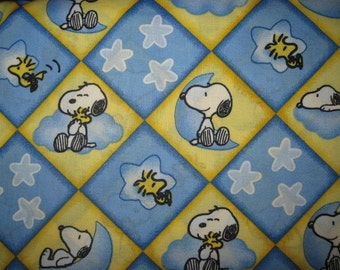 SNOOPY Fabric, Baby Snoopy, Fat Quarter, Fq, 18X22, Baby Snoopy Fabric, Cotton Fabric, Blue, Yellow, Diamond, Argyle, woodstock