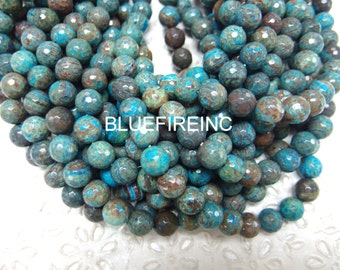 48 pcs Natural Blue Sky Jasper Faceted Round Beads 8mm - 16 Inch Strand