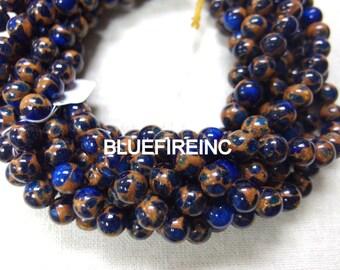 47 pcs 8mm Sapphire blue with Golden Vein Jade Round Ball Stone Beads Strand