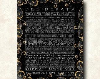 DESIDERATA Print - Contemporary Modern Cafe-Mount 24x36 - Motivational Black with Gold Scrolls
