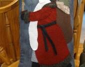 Santa Claus Wool Applique Folk Art Pillow Hand Made