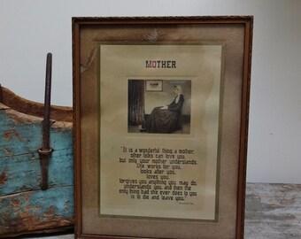 Vintage Framed Mother Photo Saying Baroness Von Hutten