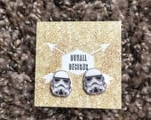 Stormtrooper earrings. Star Wars. Darkside. Stormtrooper. Earrings. Star Wars earrings.