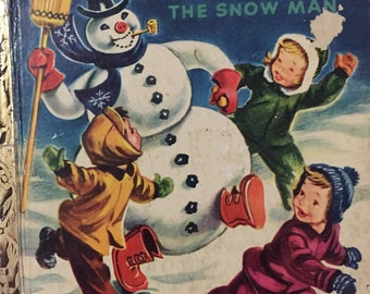 1951 FROSTY THE SNOWMAN Little Golden Book Corinne Malvern artist, Annie North Bedford illustrated book children policeman playing in snow