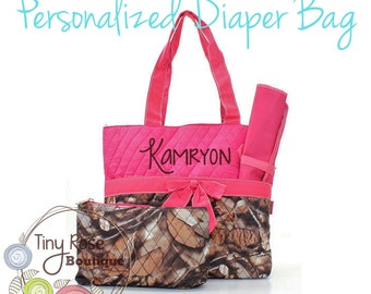 Personalized Diaper Bag, Camoflauge Pink Monogrammed Baby Tote, Changing Pad, Mommy Bag