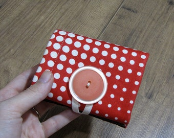 red and white polka dot, wallet, optical illusion, retro fabric, womens wallet, compact wallet, purse, travel wallet, woman pocket wallet