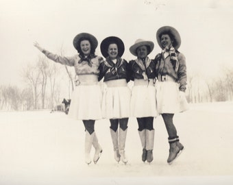 COWGIRLS On Ice SKATES With Matching SKIRTS Photo circa 1940s