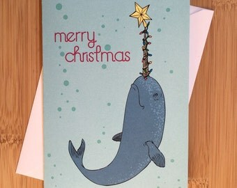 10 pk Merry Christmas Narwhal Greeting Card - Blank Inside
