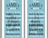 Disney Family Rules print 10x20 Blue