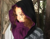 Purple and Black Hooded Scarf / Sweater Hood / Upcycled Neckwarmer