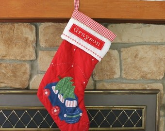 Red Car with Tree Stocking Pottery Barn Quilted Stocking  ---  Free Monogram