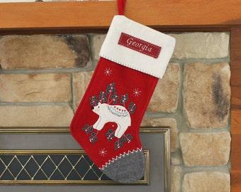 Polar Bear Christmas Stocking With Monogram By Benlovesbirdy