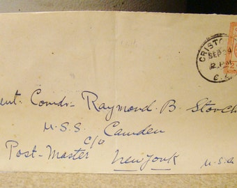 Panama Canal Zone U.S.S. Camden Posted Envelope Stamped Vintage