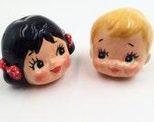 Ceramic Doll ; drawer  knobs , handles - set of 2-