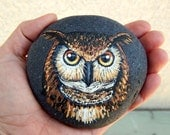 GREAT Horned OWL Hand Painted Stones Rock Art Forest Creatures Owl Totem Animals Spirit Guide Artwork Stone ART Altar Tools Nature Paintings