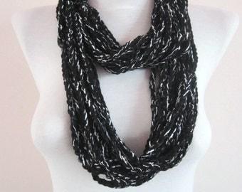 Black Crochet infinity Scarf,Crochet Chain Scarf,Loop Scarf