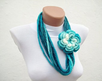 Strand Scarf, Crochet Scarf, Chain Necklace, Flower Brooch Pin, Blue Turquoise White, Autumn, Christmas Gift