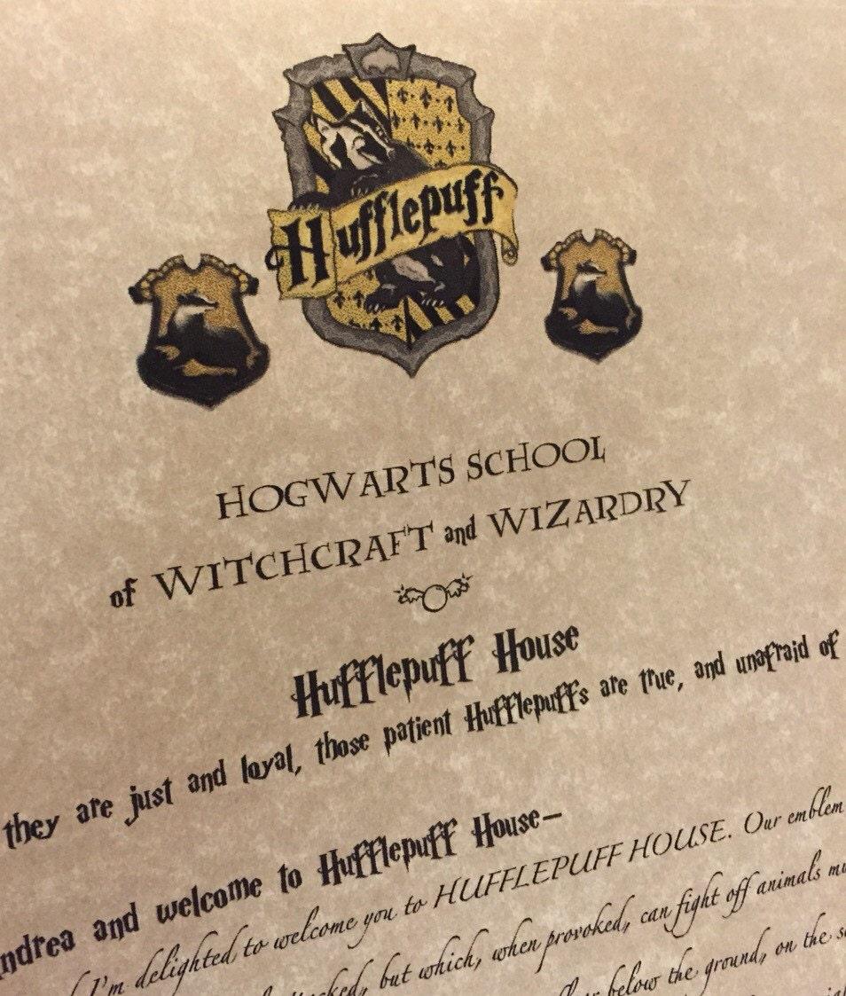 Custom Hogwarts House Acceptance Letter Personalized
