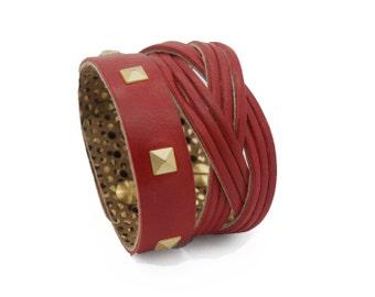 Red Leather Cuff Bracelet, Red Studded Bracelet  - the Atena