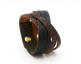 Brown and black cuff, brown leather cuff, leather cuff bracelet  - the Orleans