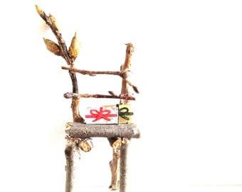 teeny, tiny handmade twig chair