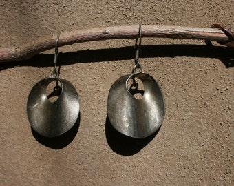 Modernist Mexican Sterling Silver Earrings Hoops