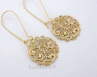 Gift gold earrings, dangle earrings, filigree disc drop spray pattern charm, long earring, bridesmaid wedding, everyday jewelry, by balance9