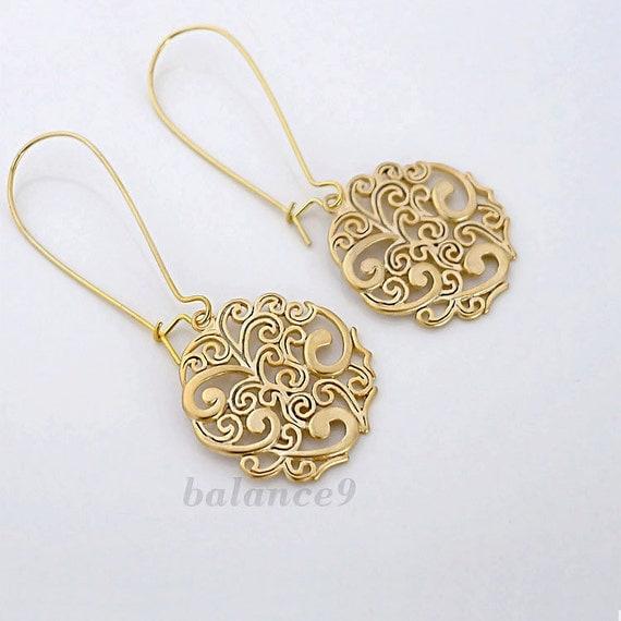 Gold earrings, dangle earrings, filigree disc drop spray pattern charm, long earring, bridesmaid wedding gift, everyday jewelry, by balance9