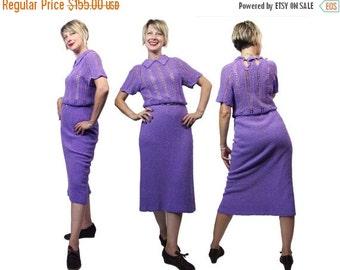 Summer Sale 1940s to 1950s Purple Knit Dress M/L