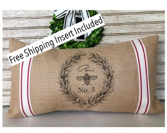French Bee Wreath No.5 - Burlap Pillow * FREE SHIPPING *