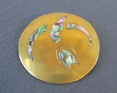 Taxco Pendant or Brooch Pin with Abalone Inlay Bird