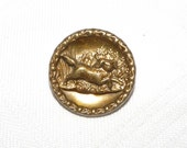 Running Spaniel Tinted Brass Dog Picture Button Medium Size