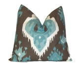 """SALE Aqua Blue Brown Throw Pillow COVERS Decorative Pillows 20"""" ONE Pillow Cover Cushion Cover Slipcover Suzani All Sizes Modern Ikat 46 cm"""