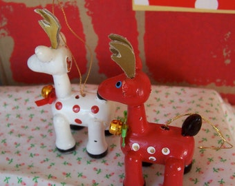 two cute wooden reindeer ornaments