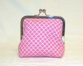 Palm Clutch in Pink and Beige Honeycomb Pattern