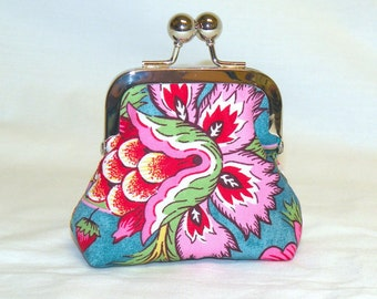 Happy Little Coin Pouch in Gorgeous Botanical Print in Pinks and Teals