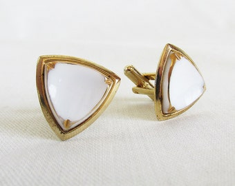 "Mid Century Gold-tone & Faux Ivory Cuff Links ""Shield Shaped"""